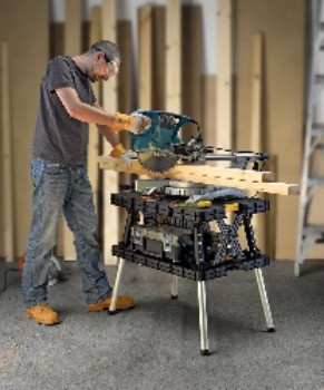 Image of woodworker using keter workbench, the best portable workbench