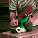 Image of Makita in use, the best belt sander for woodworking