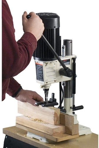 Image of benchtop mortiser in use