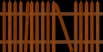 Picket fence, one type of wood fence