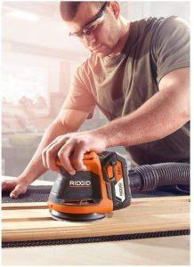 Woodworker using Rigid, the Best Cordless Random Orbital Sander