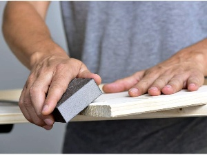 Image of sanding block in use