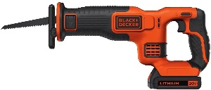 Image of a cordless reciprocating saw from Black + Decker